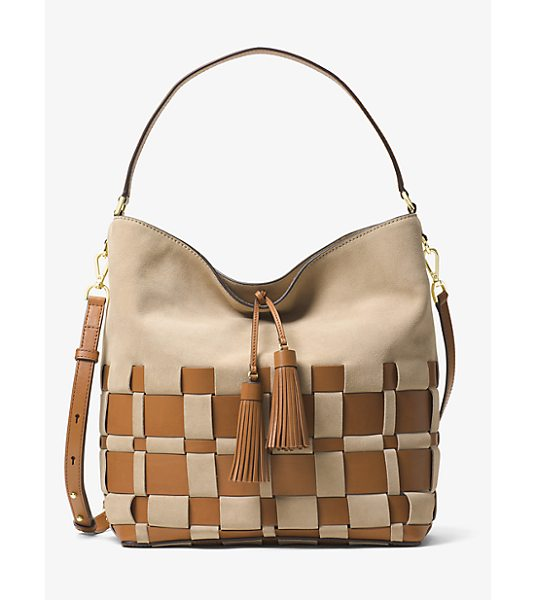 Michael Kors Vivian Large Woven Suede And Leather Hobo in brown