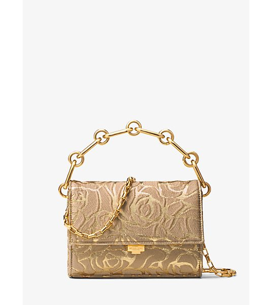 Michael Kors Collection Yasmeen Small Rose Jacquard Clutch in gold - Clean Lines Romantic Rose Medallion Jacquard And...