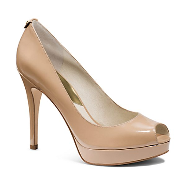 Michael Kors York Patent-Leather Peep-Toe Pump in natural - With A Glossy Patent-Leather Construction Chic Peep-Toe...