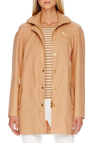 Michael Kors Zip-front balmacaan jacket in suntan - Michael Kors suntan tech coat with golden hardware....