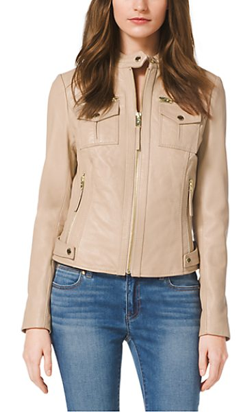 Michael Kors Zip-Front Leather Jacket in natural - Every Wardrobe Deserves A Luxe Leather Jacket. This...