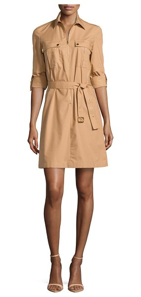 Michael Kors Zip-front shirtdress in suntan