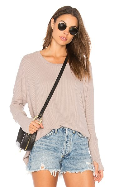 Michael Lauren Branson Top in taupe - 62% rayon 23% poly 13% cotton 2% spandex. Hand wash...