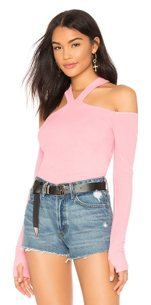 MICHAEL LAUREN Dom Tee in pink - 94% rayon 6% spandex. Dry clean recommended. Ribbed...