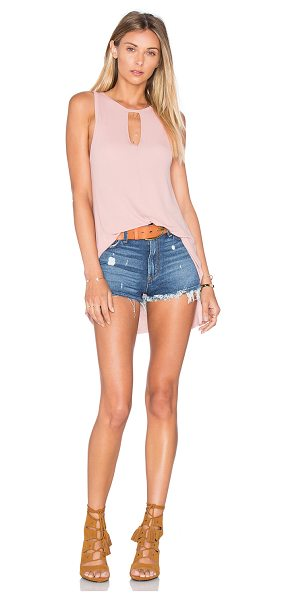 Michael Lauren Gustavo Tank in blush - 94% rayon 6% spandex. Dry clean recommended. Neckline...