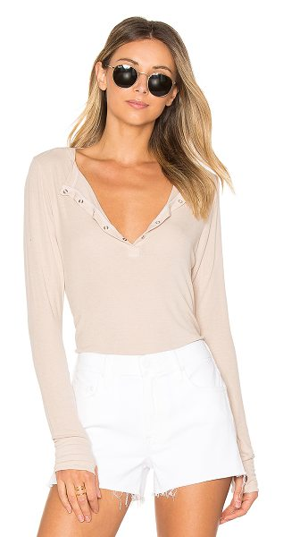 Michael Lauren Kipling Henley in beige - 94% rayon 6% spandex. Dry clean only. Rib knit fabric....