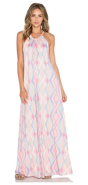 Michael Lauren Pedro halter maxi dress in pink - 94% rayon 6% spandex. Dry clean recommended. Neckline to...