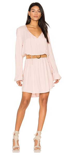 Michael Lauren Quintin Long Sleeve Dress in pink - 100% rayon. Dry clean recommended. Unlined. Neckline tie...