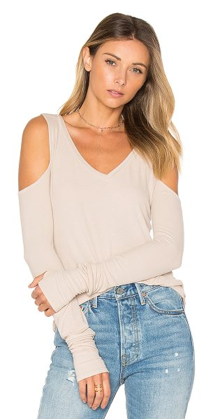 Michael Lauren Ramiro Open Shoulder Tee in beige - 94% rayon 6% spandex. Dry clean recommended. Rib knit...