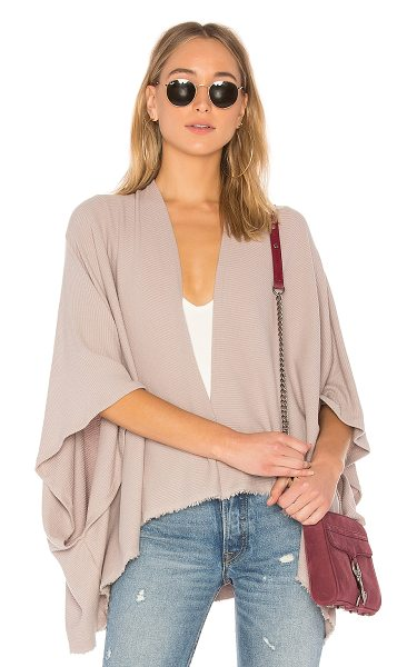 Michael Lauren Texas Wrap in taupe - 62% rayon 23% poly 13% cotton 2% spandex. Dry clean...