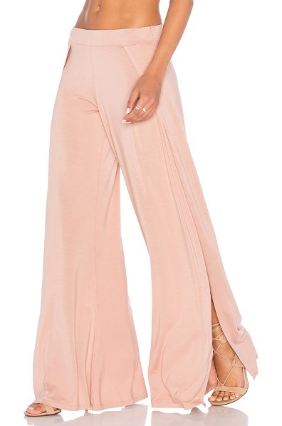 Michael Lauren Troy Pant in blush - 94% rayon 6% spandex. Elasticized waist. Side slits....