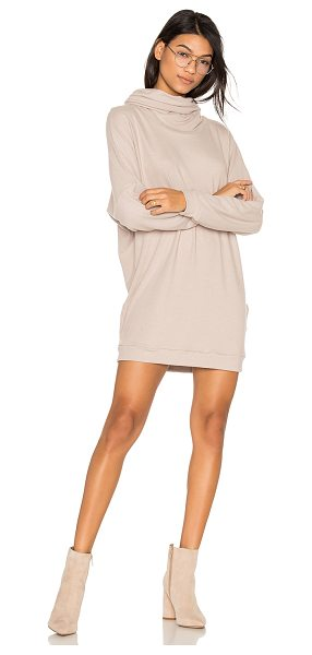 Michael Lauren Vargus Draped Turtleneck Dress in oatmeal - 50% cotton 50% poly. Dry clean only. Unlined. Cowl neck....
