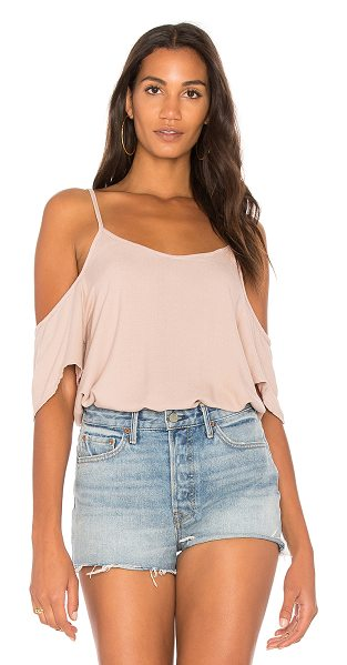 Michael Lauren Zion Open Shoulder Top in taupe - 100% rayon. Dry clean recommended. Adjustable shoulder...