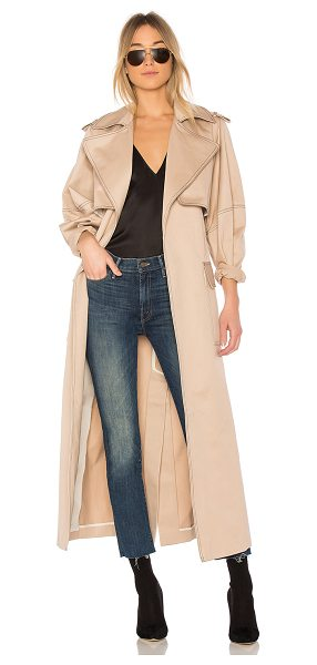 Michael Lo Sordo Relaxed Cocoon Trench With Contrast Stitch in beige - 100% cotton. Dry clean only. Open front. Side flap...