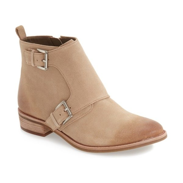 MICHAEL Michael Kors adams monk strap bootie in khaki suede - A borrowed-from-the-boys double monk strap extends the...