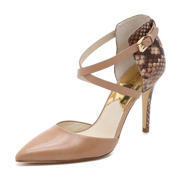 MICHAEL Michael Kors Alexia closed toe pumps in dark khaki - Smooth and snake embossed leathers bring elegant...