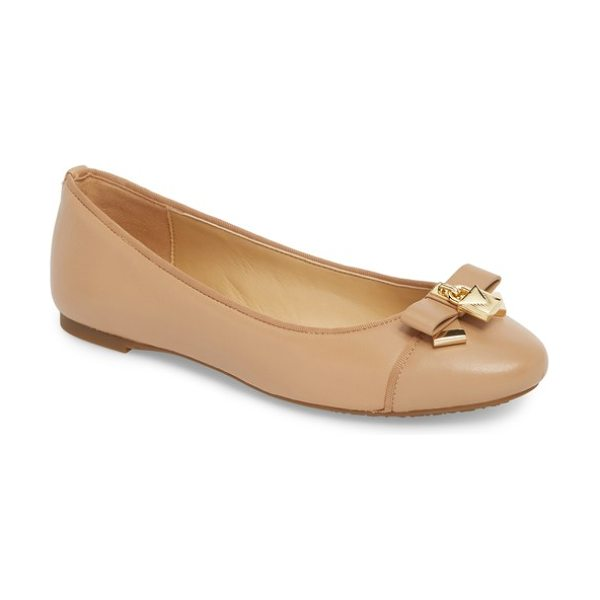 MICHAEL Michael Kors alice ballet flat in toffee leather - Signature padlock hardware highlights the dainty bow of...