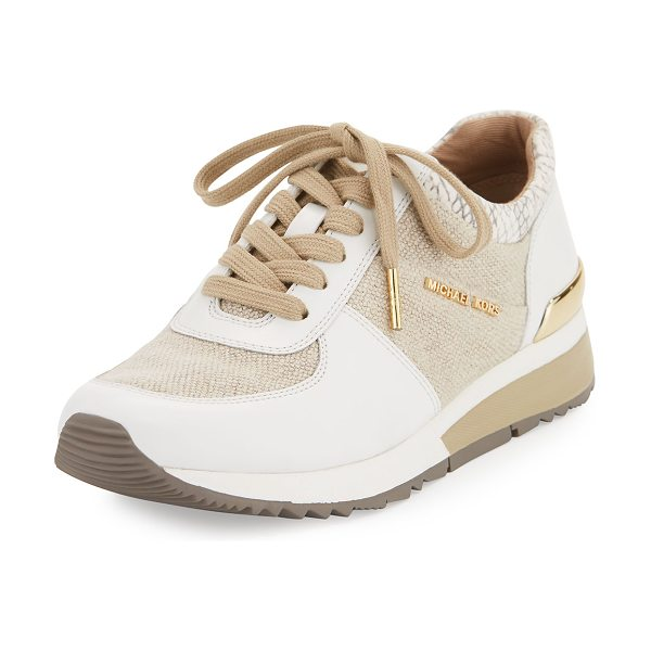 MICHAEL Michael Kors Allie Cotton Trainer Sneaker in neutral pattern - MICHAEL Michael Kors cotton sneaker with leather trim....
