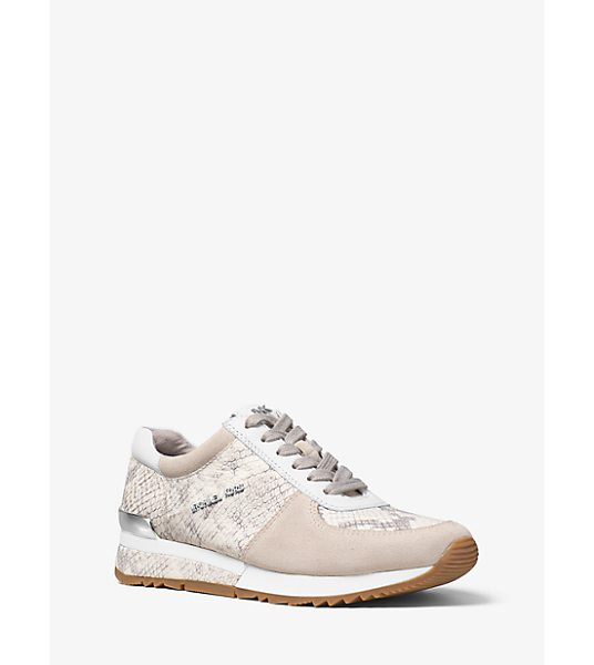 MICHAEL MICHAEL KORS Allie Embossed-Leather And Suede Sneaker - Our Allie Sneakers Get A Glamorous Upgrade This Season....