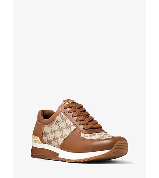 MICHAEL Michael Kors Allie Heritage Logo And Leather Sneaker in brown - Our Allie Sneaker Gets A Signature Upgrade This Season....