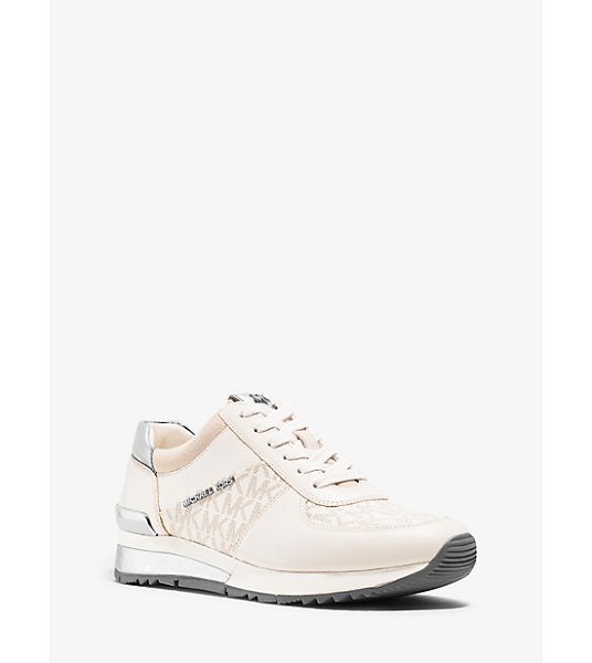 MICHAEL Michael Kors Allie Logo Leather Sneaker in natural - Signature Logo Details And Smooth Nappa Leather Elevate...