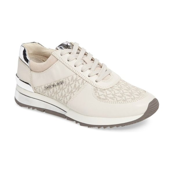 MICHAEL Michael Kors allie metallic sneaker in vanilla leather - Gleaming logos on the rand, sidewall and tongue add...