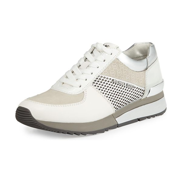 MICHAEL MICHAEL KORS Allie Mixed-Media Trainer Sneaker - MICHAEL Michael Kors metallic faux-leather...