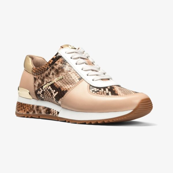 4678806bc3a0 Home · Shoes · Sneakers · MICHAEL Michael Kors Allie Snake-Embossed  Leather Sneaker in brown - Snake-Embossed Leather