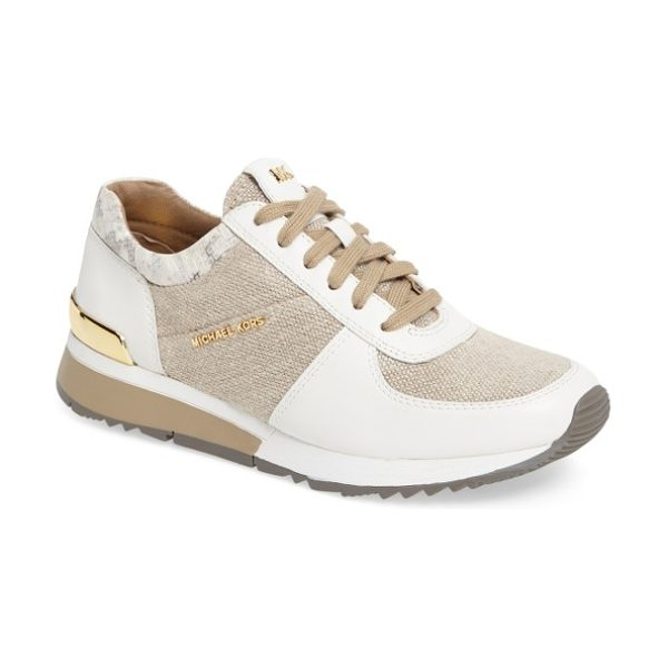 MICHAEL Michael Kors 'allie' sneaker in natural leather - Panels of leather and a logo-embossed heel plate offer a...