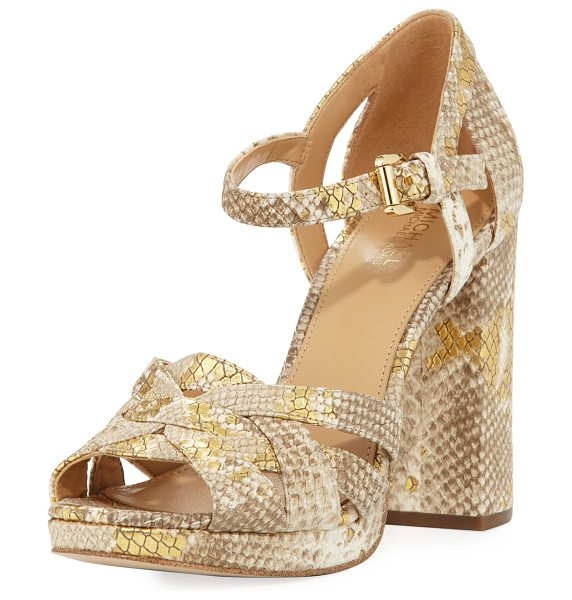 MICHAEL Michael Kors Annaliese Metallic Snake-Embossed Platform Sandal in gold - MICHAEL Michael Kors metallic snake-embossed leather...