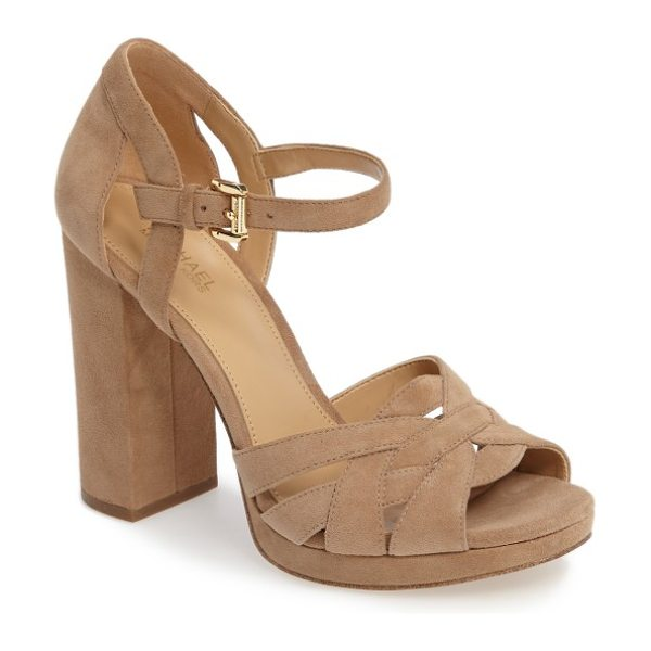 MICHAEL Michael Kors annaliese sandal in dark khaki suede - Intertwined straps define the toe of a versatile...