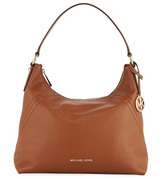 MICHAEL Michael Kors Aria Large Pebble Leather Shoulder Bag in luggage