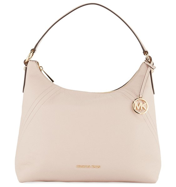 MICHAEL Michael Kors Aria Large Pebble Leather Shoulder Bag in light pink