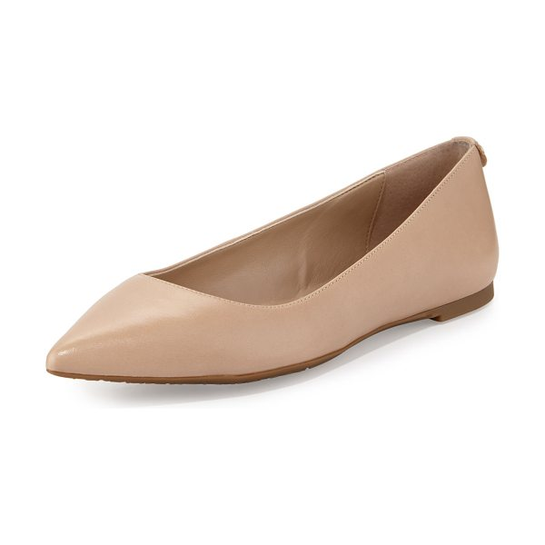 "MICHAEL Michael Kors Arianna Leather Pointed-Toe Flat in bisque - MICHAEL Michael Kors smooth calf leather flat. 0.3"" flat..."