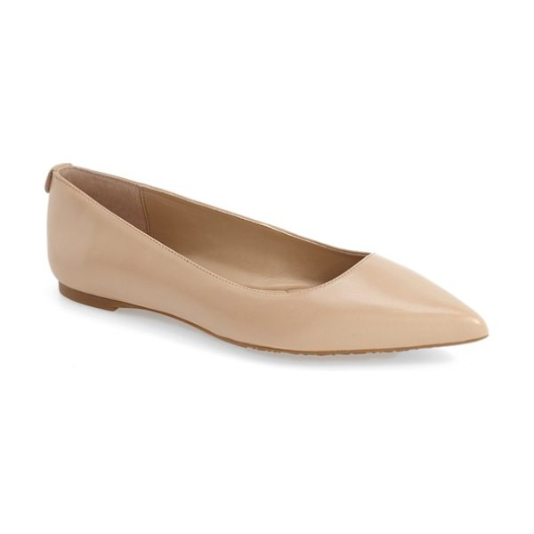 MICHAEL Michael Kors arianna pointy toe flat in bisque leather - Simplicity at its finest, a lithe pointy-toe flat in...