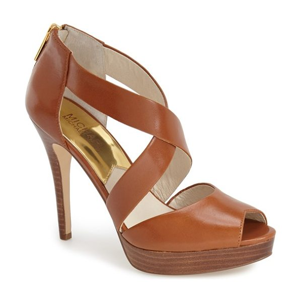 MICHAEL Michael Kors 'ariel' platform sandal in luggage - A wrapped platform heightens the drama of a standby...