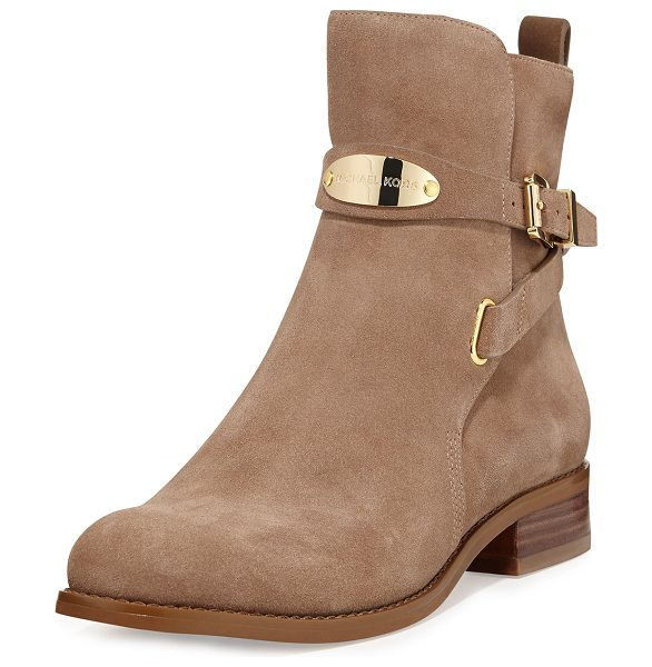 MICHAEL MICHAEL KORS Arley suede ankle boot - - Dark khaki suede with golden hardware. Round toe....