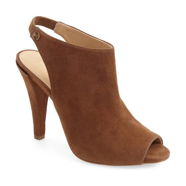 MICHAEL Michael Kors ashby sling sandal in dark caramel suede - A cutout logo medallion accents the slingback strap of a...