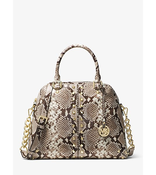 MICHAEL Michael Kors Astor Studded Snake-Embossed-Leather Satchel in natural - The Astor Satchel Is A High-Impact Statement Piece That...