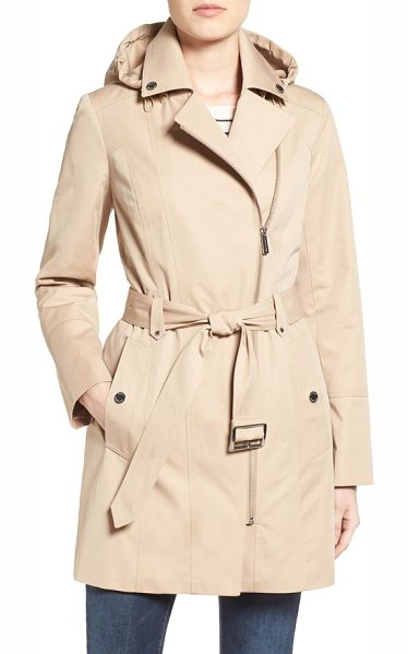 MICHAEL Michael Kors asymmetrical zip front hooded trench coat in british khaki - A gilded asymmetrical zipper adds off-kilter edge to...