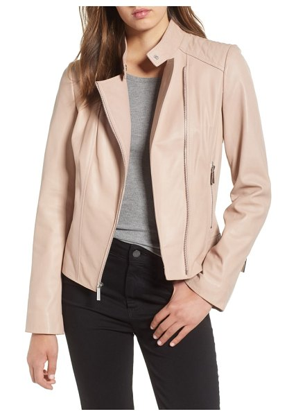 MICHAEL Michael Kors asymmetrical zip leather moto jacket in blush - Rich leather is beautifully pieced and stitched into a...