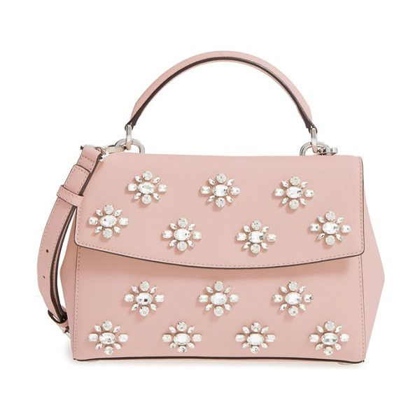 MICHAEL Michael Kors ava embellished satchel in ballet - A compact satchel in Saffiano leather gets the luxe...