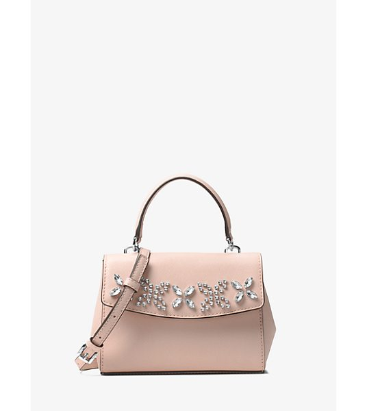 MICHAEL Michael Kors Ava Extra-Small Crystal-Embellished Leather Crossbody in pink - This Decidedly Ladylike Crossbody Showcases Crystal...