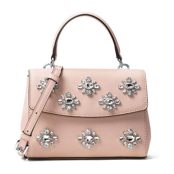 MICHAEL Michael Kors Ava Extra-Small Jeweled Crossbody Bag in ballet - MICHAEL Michael Kors jewel-embellished saffiano leather...