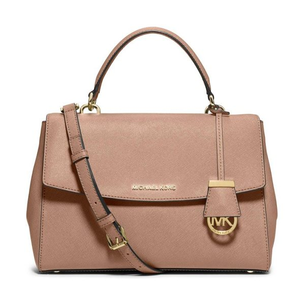 MICHAEL Michael Kors Ava saffiano leather satchel in blush - As roomy and beautifully designed as it is city-chic,...