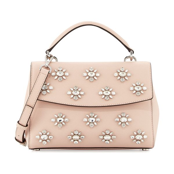 MICHAEL Michael Kors Ava Small Jeweled Satchel Bag in pink pattern - MICHAEL Michael Kors jeweled saffiano leather satchel...