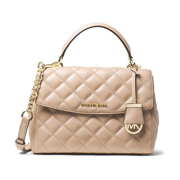 MICHAEL Michael Kors Ava small quilted leather satchel bag in bisque - MICHAEL Michael Kors small satchel in quilted leather....