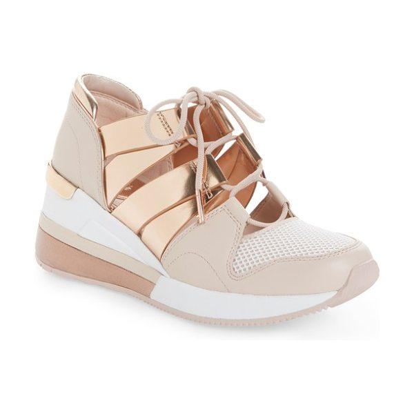 MICHAEL Michael Kors beckett sneaker in gold - Athletic style goes street-chic in the form of this...
