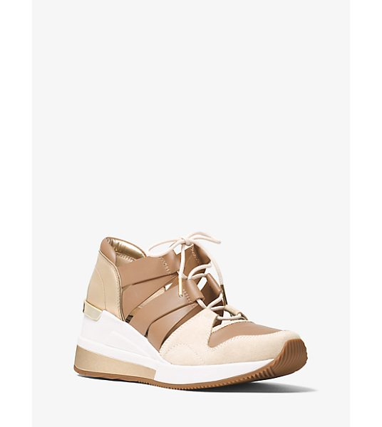 MICHAEL Michael Kors Beckett Suede And Leather Sneaker in natural - Designed In A Mix Of Suede And Smooth Leather With A...