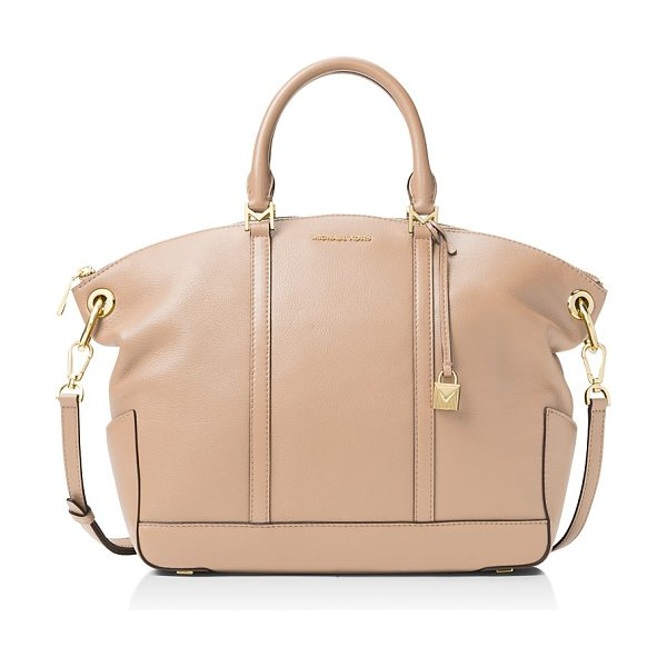 MICHAEL Michael Kors Beckett Top Zip Large Leather Satchel in oyster tan/gold - Michael Michael Kors Beckett Top Zip Large Leather...